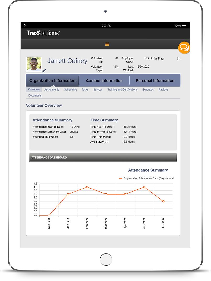 TraxSolutions VolunteerTrax iPad