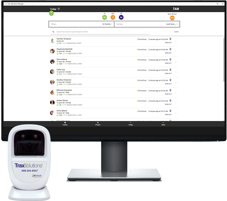 Traxsolutions Trax Attendance Manager scanner monitor